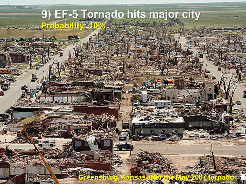 9) EF-5 Tornado hits major city Probability: 10% Greensburg, Kansas after the May 2007 tornado