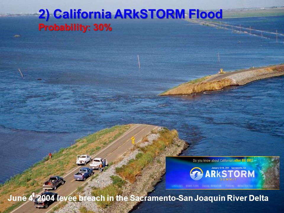 June 4, 2004 levee breach in the Sacramento-San Joaquin River Delta 2) California ARkSTORM Flood Probability: 30%