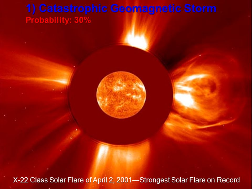 1) Catastrophic Geomagnetic Storm Probability: 30% X-22 Class Solar Flare of April 2, 2001Strongest Solar Flare on Record