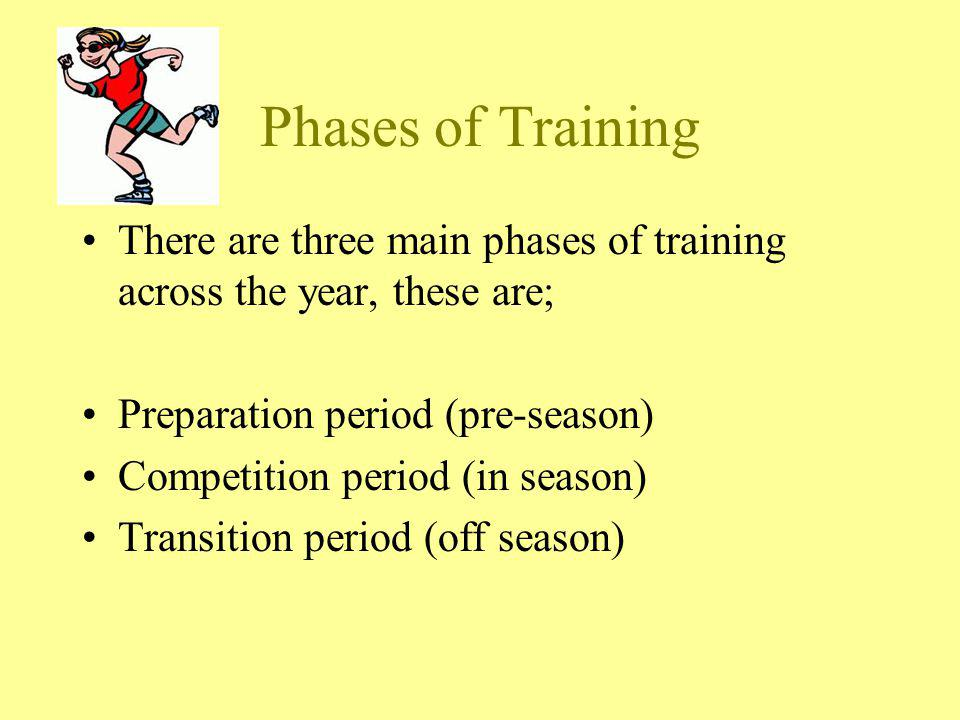 Phases of Training There are three main phases of training across the year, these are; Preparation period (pre-season) Competition period (in season)