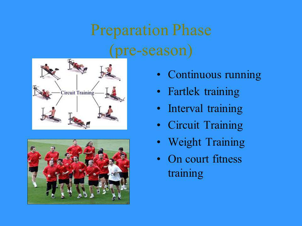 Preparation Phase (pre-season) Continuous running Fartlek training Interval training Circuit Training Weight Training On court fitness training