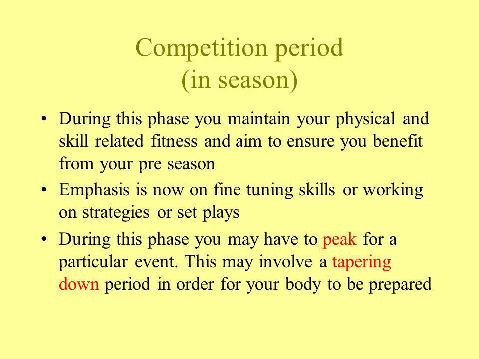 Competition period (in season) Light CRE work Badminton Working on your Smash / drop / HOC Positional play for doubles Other Corner kicks Zone defence Netball shooting Handspring