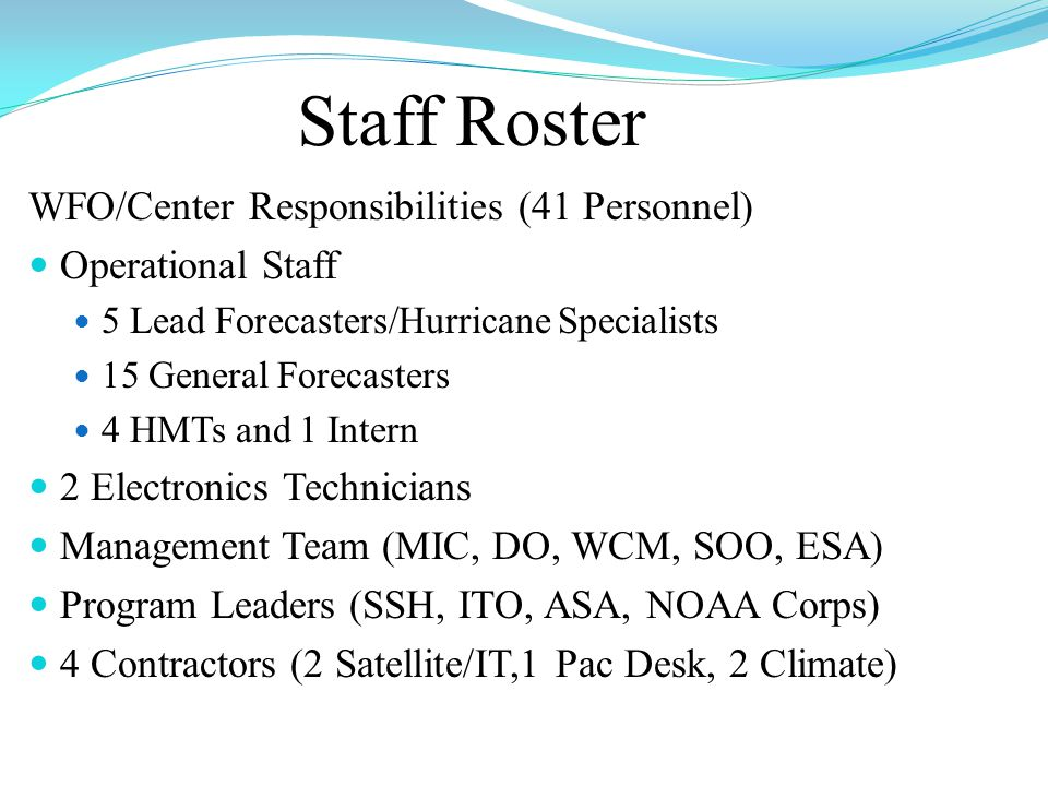 Staff Roster WFO/Center Responsibilities (41 Personnel) Operational Staff 5 Lead Forecasters/Hurricane Specialists 15 General Forecasters 4 HMTs and 1 Intern 2 Electronics Technicians Management Team (MIC, DO, WCM, SOO, ESA) Program Leaders (SSH, ITO, ASA, NOAA Corps) 4 Contractors (2 Satellite/IT,1 Pac Desk, 2 Climate)