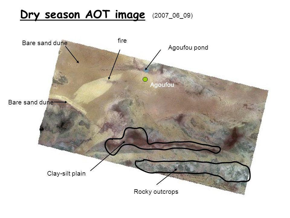 Agoufou pond fire Bare sand dune Clay-silt plain Rocky outcrops (2007_06_09) Dry season AOT image Bare sand dune Agoufou