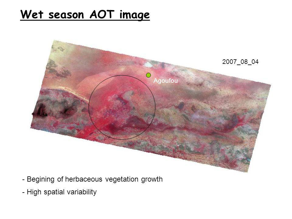 2007_08_04 Wet season AOT image - Begining of herbaceous vegetation growth - High spatial variability Agoufou