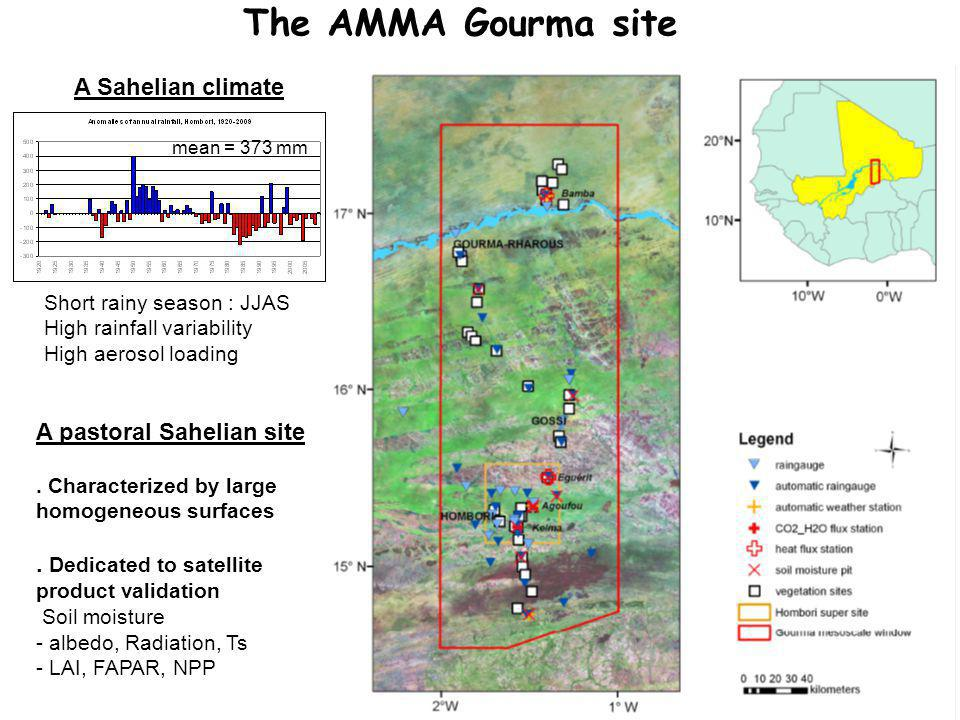 The AMMA Gourma site mean = 373 mm Short rainy season : JJAS High rainfall variability High aerosol loading A Sahelian climate.