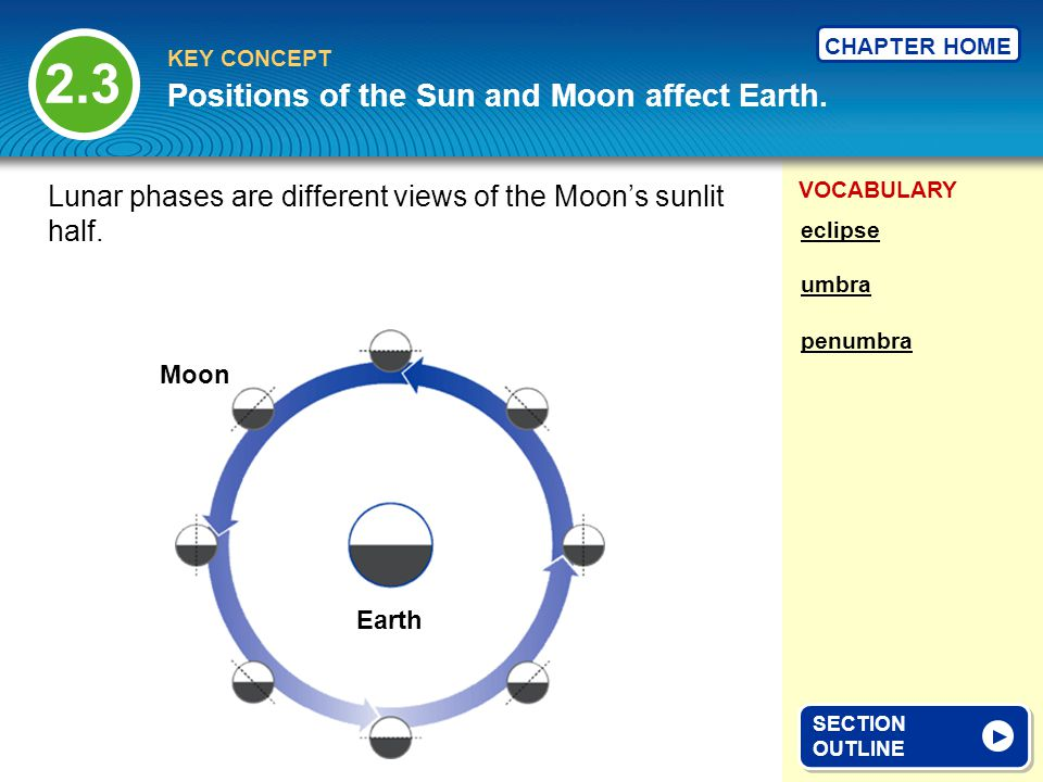 VOCABULARY KEY CONCEPT CHAPTER HOME Positions of the Sun and Moon affect Earth. 2.3 SECTION OUTLINE SECTION OUTLINE Lunar phases are different views o