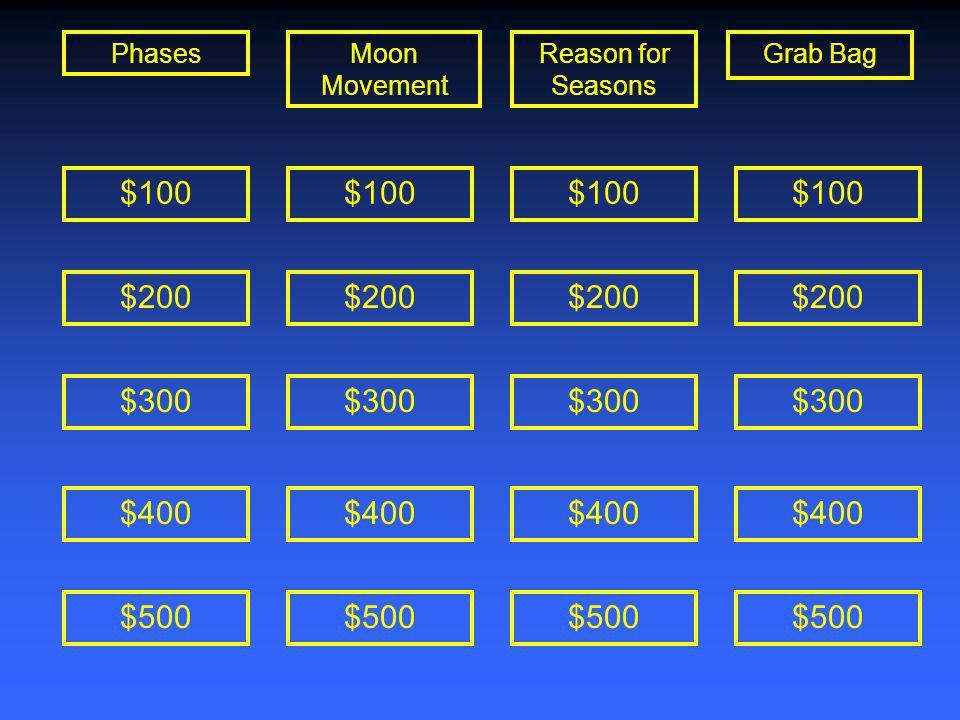 $100 $200 $300 $400 $500 $100 $200 $300 $400 $500 $100 $200 $300 $400 $500 $100 $200 $300 $400 $500 PhasesMoon Movement Reason for Seasons Grab Bag