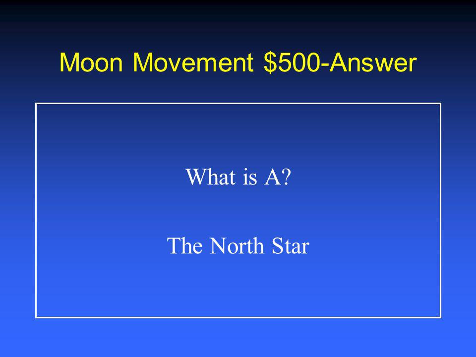 Moon Movement $400-Answer What is B Rotation of Earth on its axis