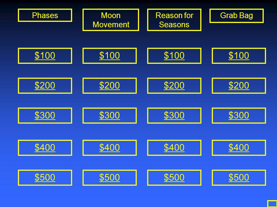 Grab Bag $500-Answer What is Spring and Fall?