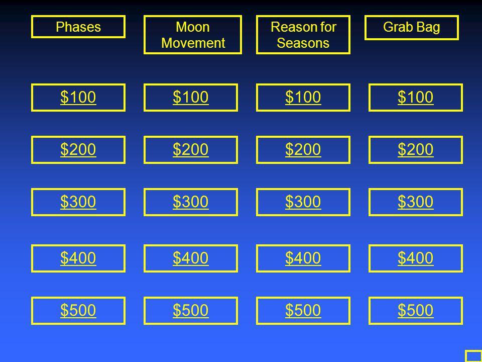 PhasesMoon Movement Reason for Seasons Grab Bag $100 $200 $300 $400 $500 $100 $200 $300 $400 $500 $100 $200 $300 $400 $500 $100 $300 $400 $200 $500