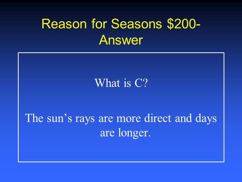 Reason for Seasons $100- Answer What is B