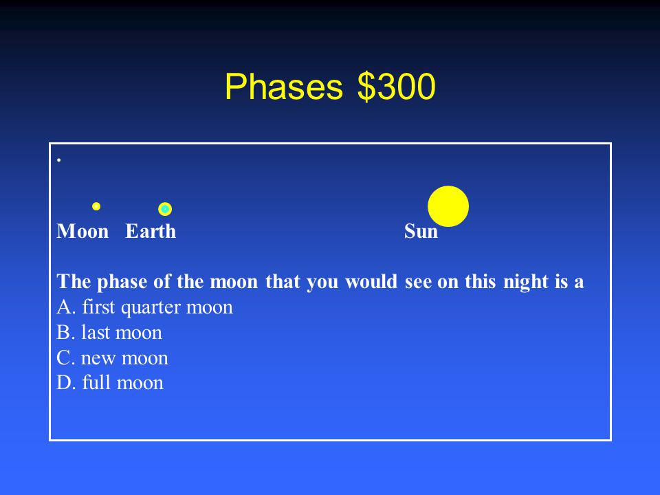 Phases $300.Moon Earth Sun The phase of the moon that you would see on this night is a A.