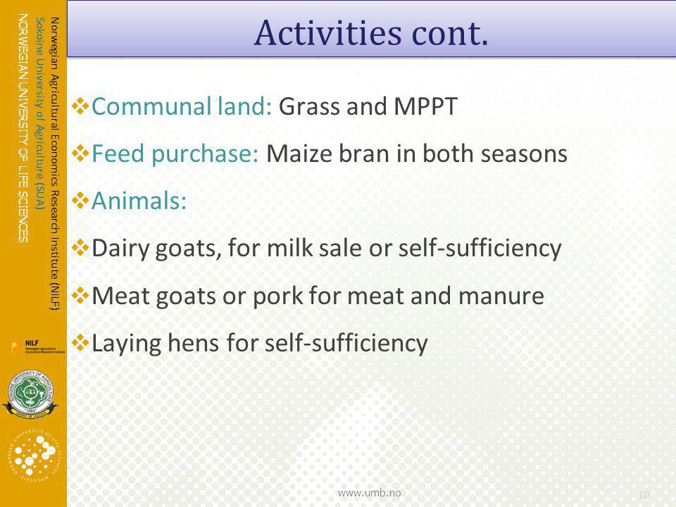 NORWEGIAN UNIVERSITY OF LIFE SCIENCES www.umb.no Communal land: Grass and MPPT Feed purchase: Maize bran in both seasons Animals: Dairy goats, for milk sale or self-sufficiency Meat goats or pork for meat and manure Laying hens for self-sufficiency 10 Activities cont.