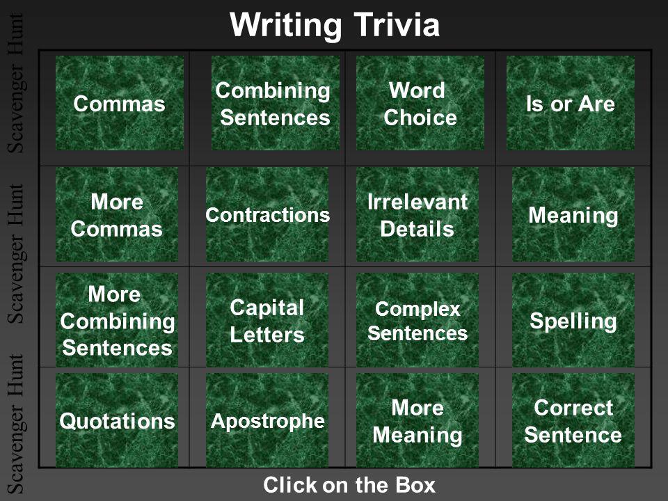 Scavenger Hunt Scavenger Hunt Scavenger Hunt Writing Trivia