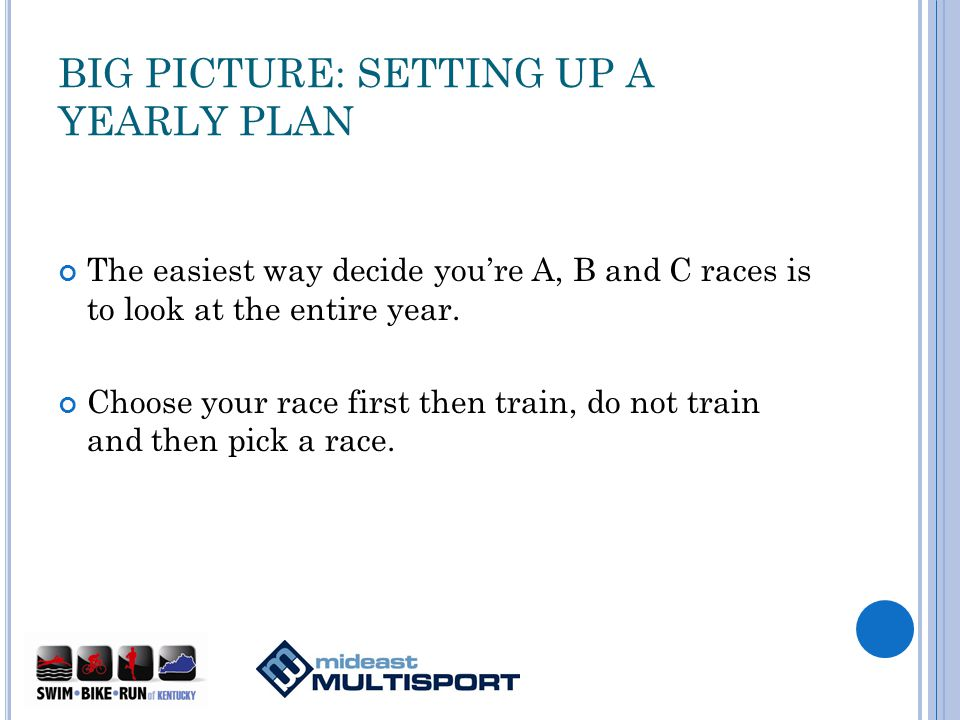 BIG PICTURE: SETTING UP A YEARLY PLAN The easiest way decide youre A, B and C races is to look at the entire year.