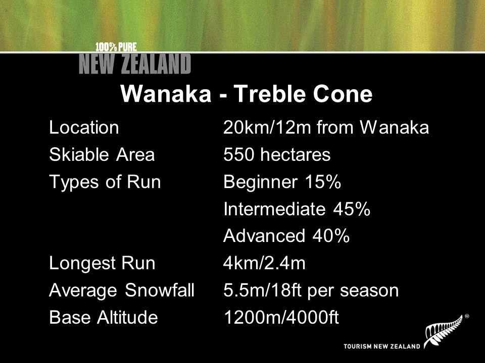 Wanaka - Treble Cone Location20km/12m from Wanaka Skiable Area550 hectares Types of RunBeginner 15% Intermediate 45% Advanced 40% Longest Run4km/2.4m Average Snowfall5.5m/18ft per season Base Altitude1200m/4000ft