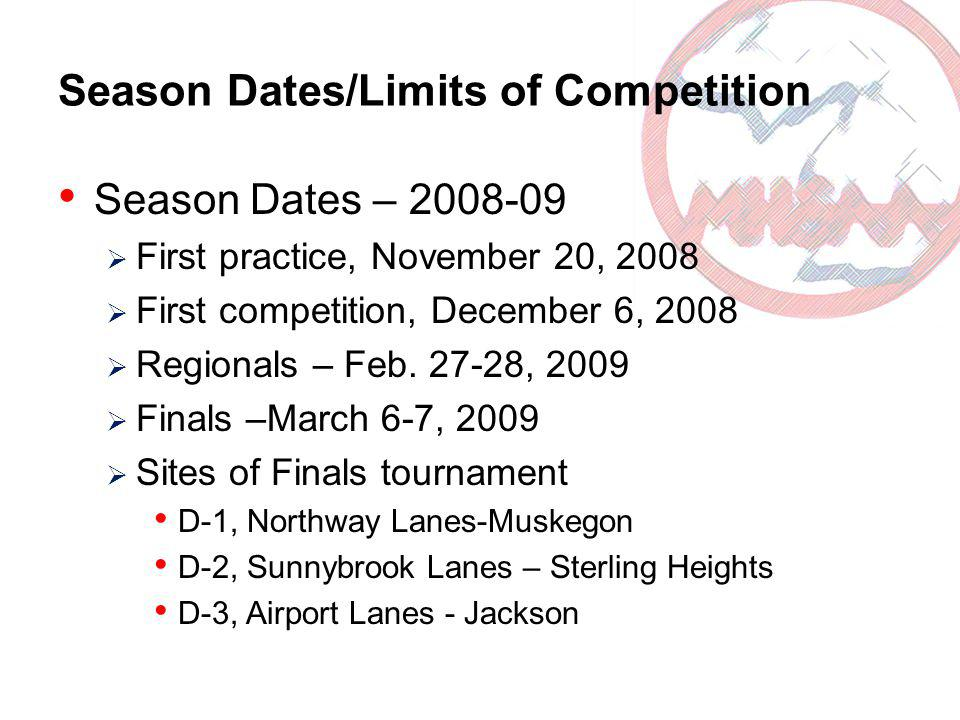 Season Dates/Limits of Competition Season Dates – 2008-09 First practice, November 20, 2008 First competition, December 6, 2008 Regionals – Feb.