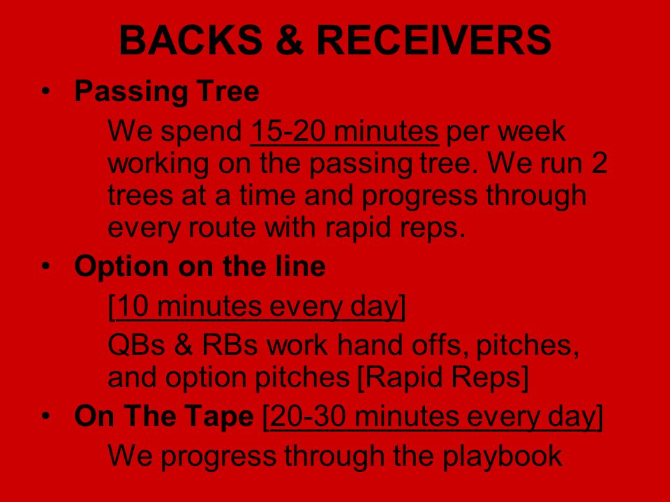 BACKS & RECEIVERS Passing Tree We spend 15-20 minutes per week working on the passing tree. We run 2 trees at a time and progress through every route