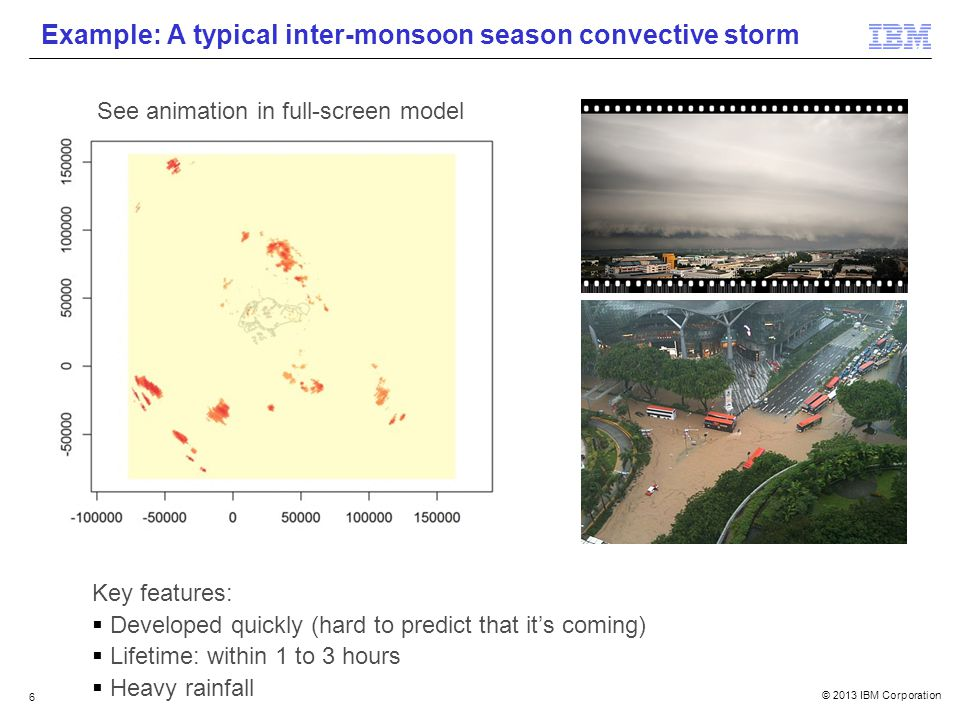 © 2013 IBM Corporation 6 Example: A typical inter-monsoon season convective storm Key features: Developed quickly (hard to predict that its coming) Lifetime: within 1 to 3 hours Heavy rainfall See animation in full-screen model