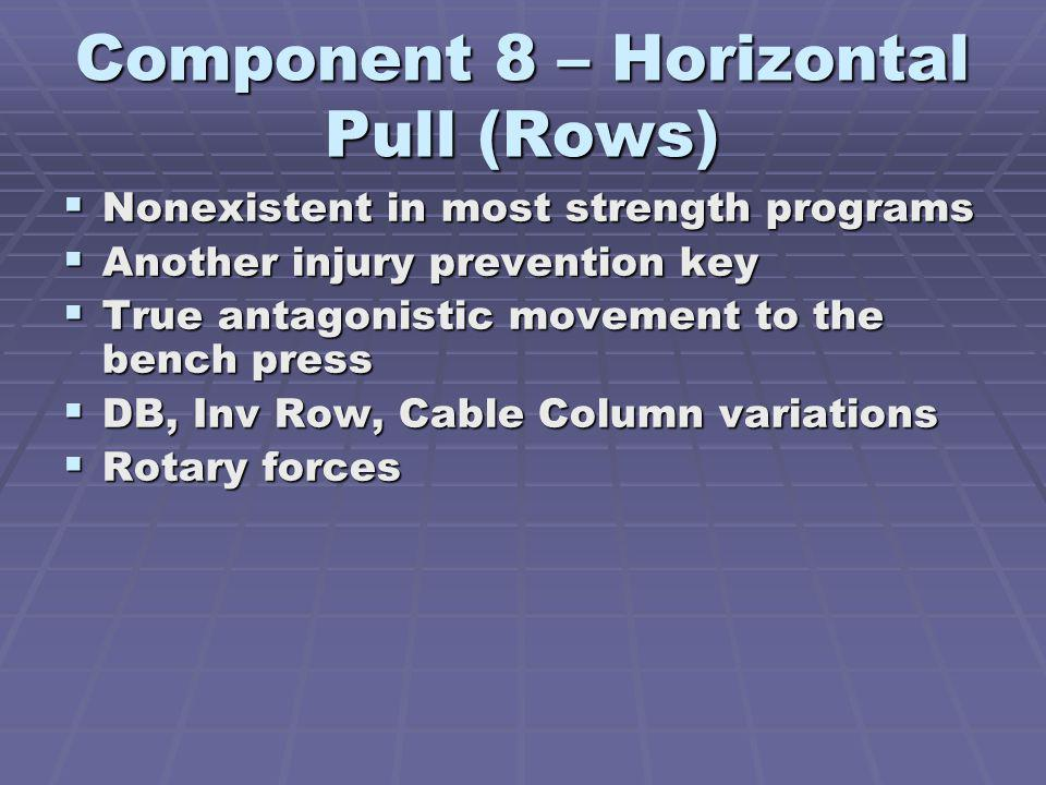 Component 8 – Horizontal Pull (Rows) Nonexistent in most strength programs Nonexistent in most strength programs Another injury prevention key Another injury prevention key True antagonistic movement to the bench press True antagonistic movement to the bench press DB, Inv Row, Cable Column variations DB, Inv Row, Cable Column variations Rotary forces Rotary forces