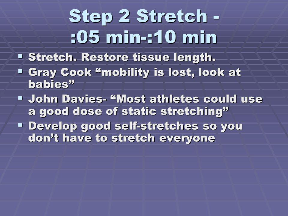 Step 2 Stretch - :05 min-:10 min Stretch.Restore tissue length.