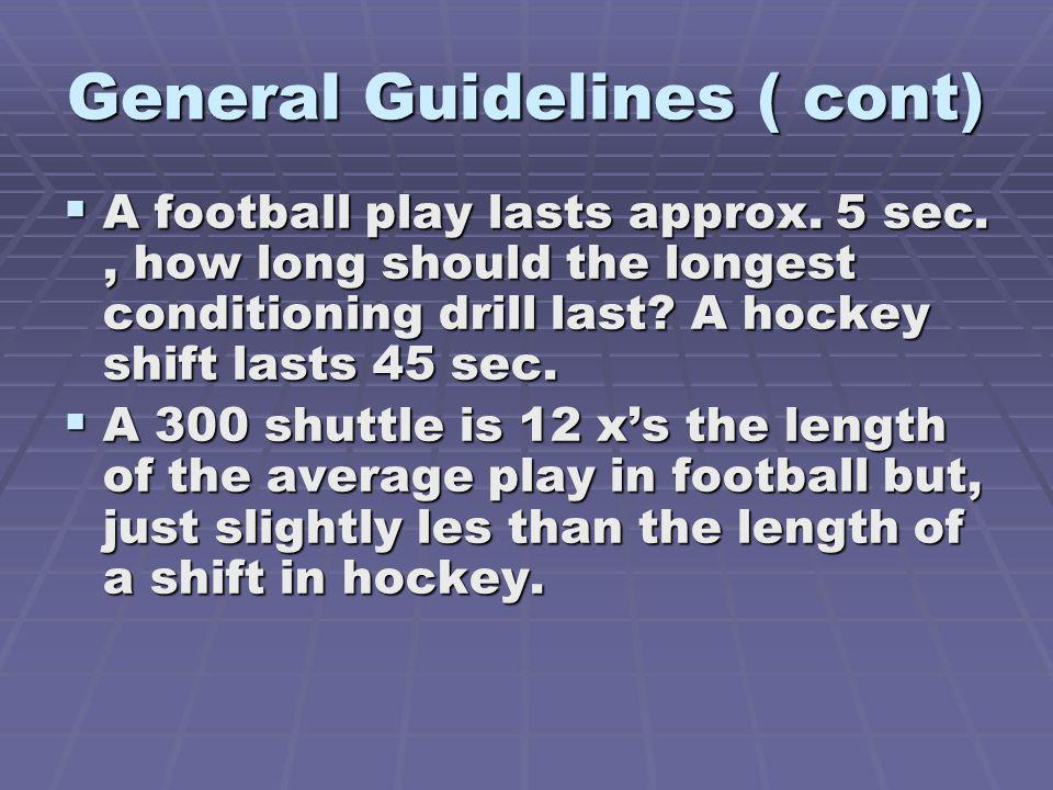 General Guidelines ( cont) A football play lasts approx.