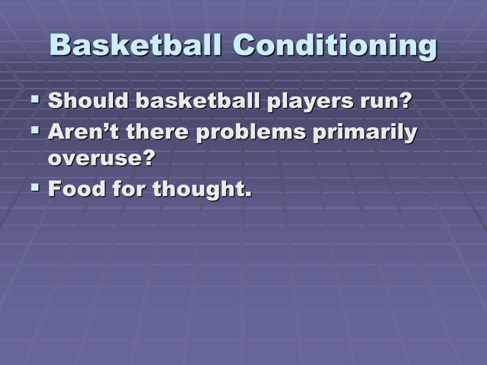 Basketball Conditioning Should basketball players run? Should basketball players run? Arent there problems primarily overuse? Arent there problems pri