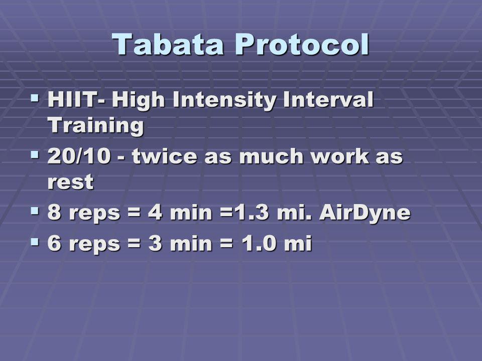 Tabata Protocol HIIT- High Intensity Interval Training HIIT- High Intensity Interval Training 20/10 - twice as much work as rest 20/10 - twice as much work as rest 8 reps = 4 min =1.3 mi.