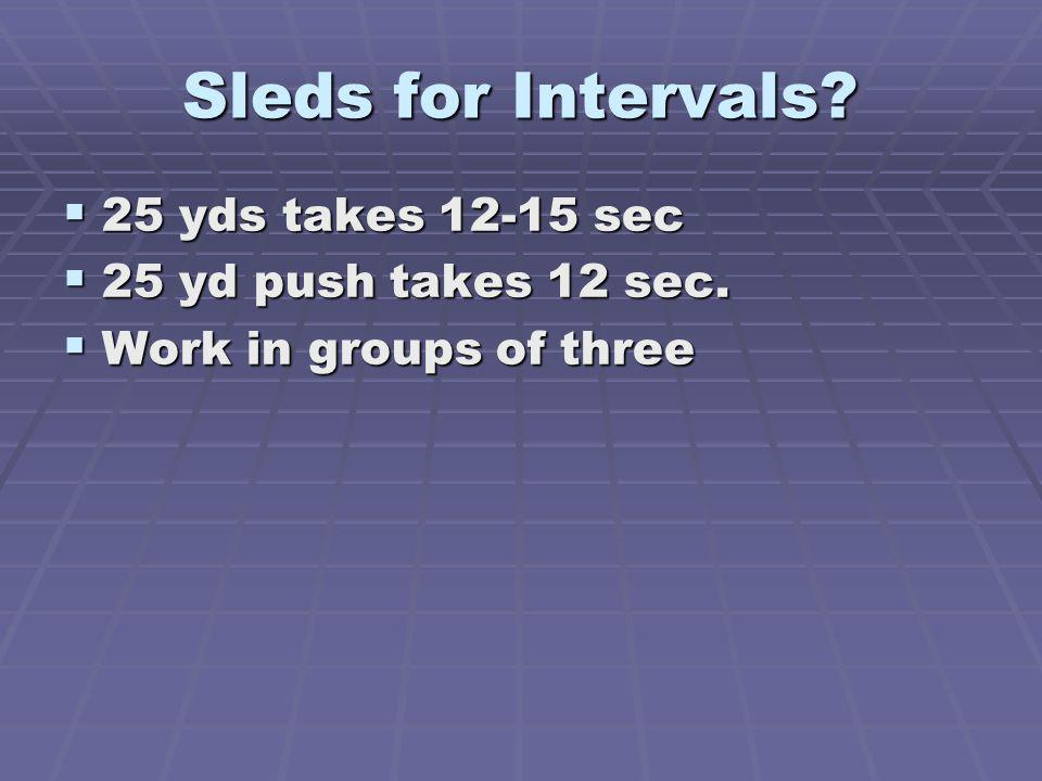 Sleds for Intervals.25 yds takes 12-15 sec 25 yds takes 12-15 sec 25 yd push takes 12 sec.
