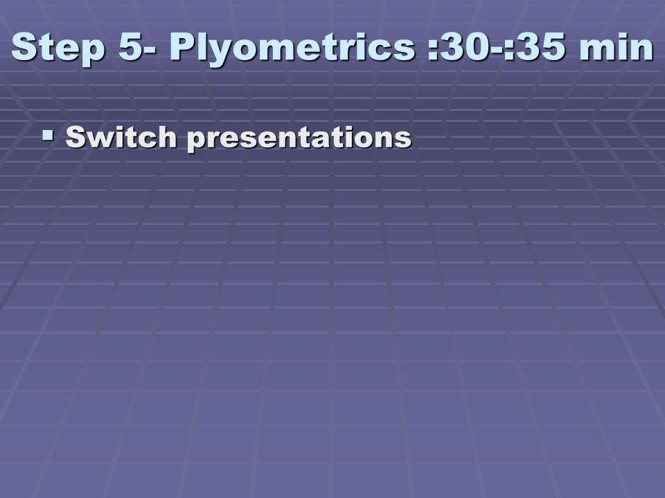 Step 5- Plyometrics :30-:35 min Switch presentations Switch presentations