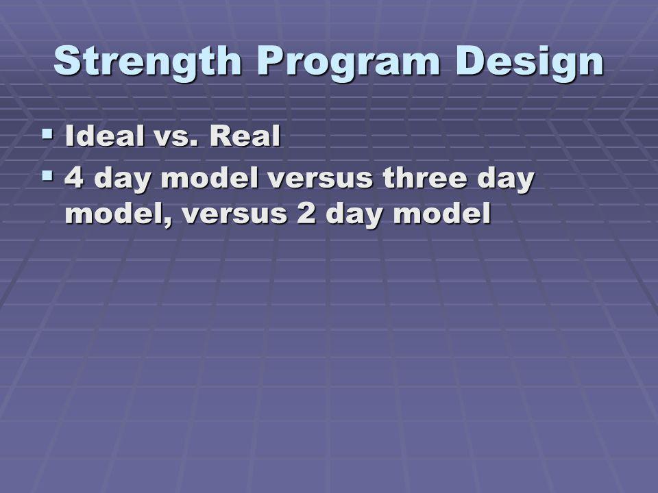 Strength Program Design Ideal vs.Real Ideal vs.