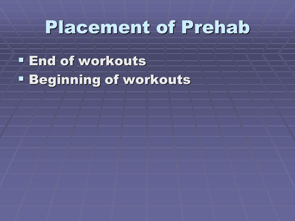 Placement of Prehab End of workouts End of workouts Beginning of workouts Beginning of workouts