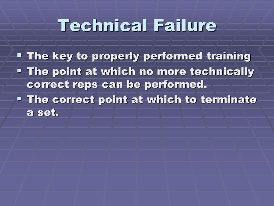Technical Failure The key to properly performed training The key to properly performed training The point at which no more technically correct reps ca
