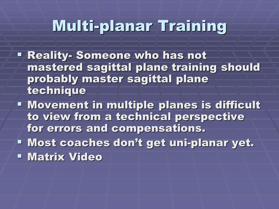 Multi-planar Training Reality- Someone who has not mastered sagittal plane training should probably master sagittal plane technique Reality- Someone who has not mastered sagittal plane training should probably master sagittal plane technique Movement in multiple planes is difficult to view from a technical perspective for errors and compensations.