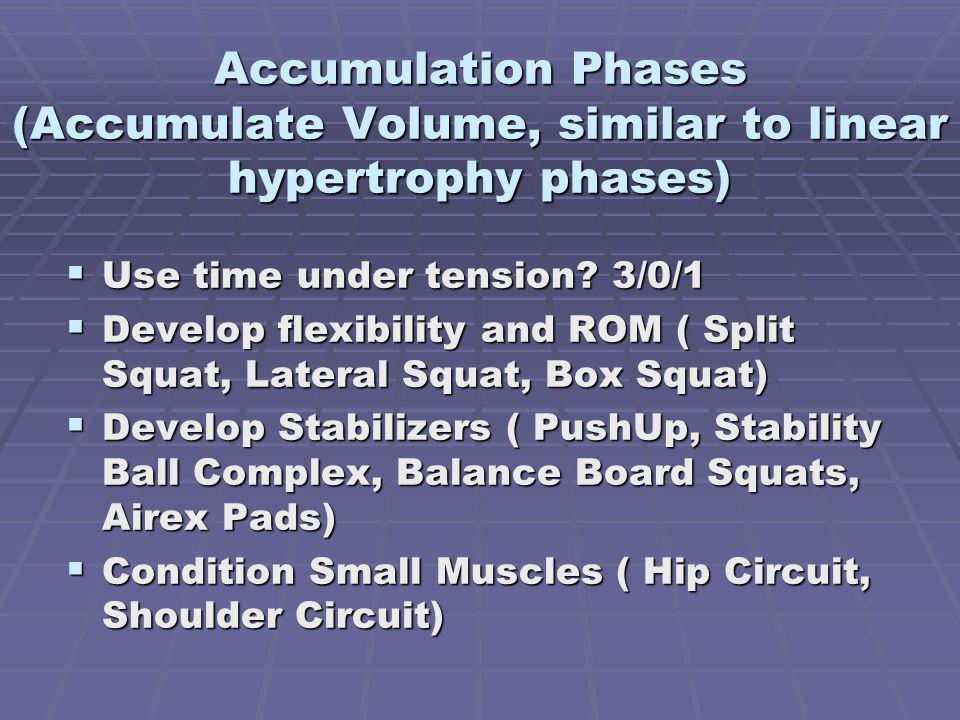 Accumulation Phases (Accumulate Volume, similar to linear hypertrophy phases) Use time under tension.