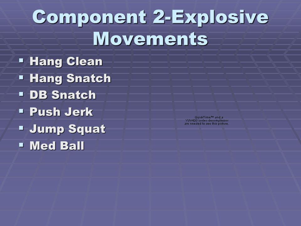 Component 2-Explosive Movements Hang Clean Hang Clean Hang Snatch Hang Snatch DB Snatch DB Snatch Push Jerk Push Jerk Jump Squat Jump Squat Med Ball Med Ball