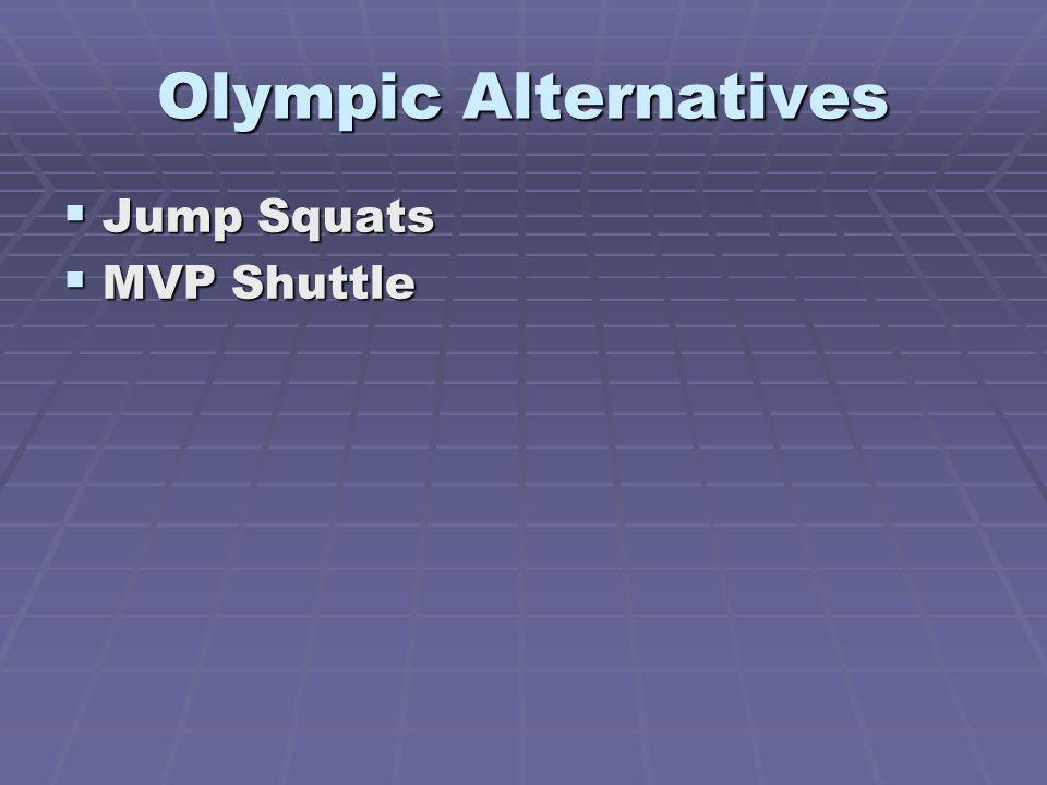 Olympic Alternatives Jump Squats Jump Squats MVP Shuttle MVP Shuttle