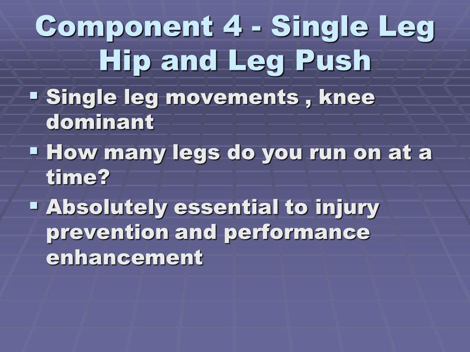 Component 4 - Single Leg Hip and Leg Push Single leg movements, knee dominant Single leg movements, knee dominant How many legs do you run on at a time.
