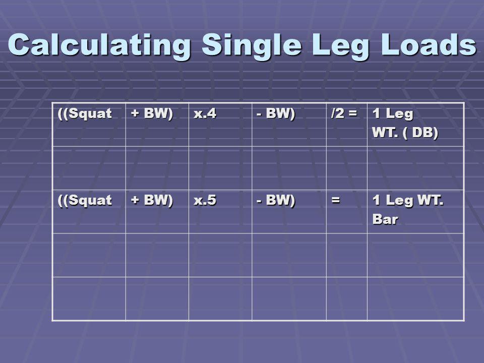 Calculating Single Leg Loads ((Squat + BW) x.4 - BW) /2 = 1 Leg WT.