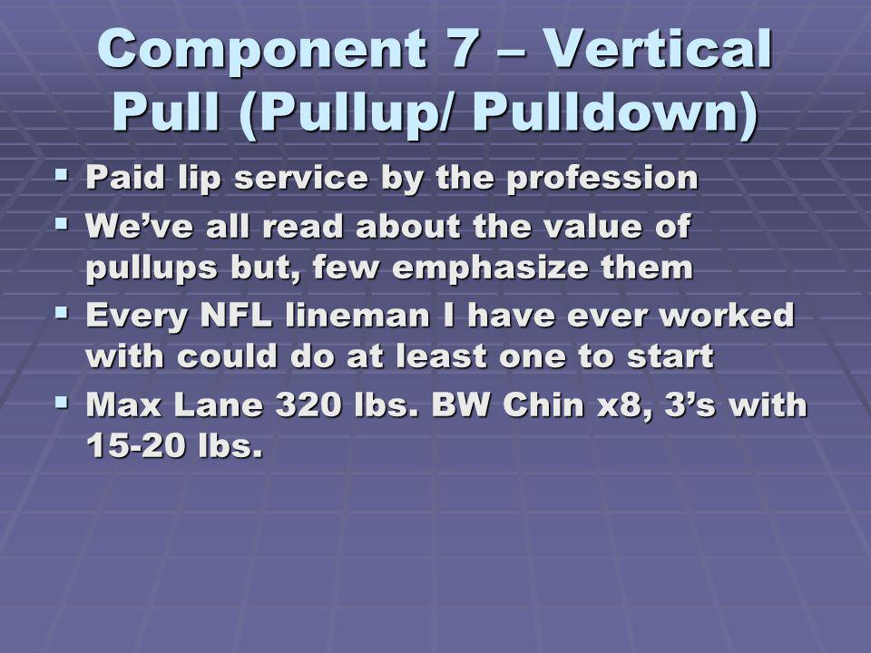 Component 7 – Vertical Pull (Pullup/ Pulldown) Paid lip service by the profession Paid lip service by the profession Weve all read about the value of pullups but, few emphasize them Weve all read about the value of pullups but, few emphasize them Every NFL lineman I have ever worked with could do at least one to start Every NFL lineman I have ever worked with could do at least one to start Max Lane 320 lbs.