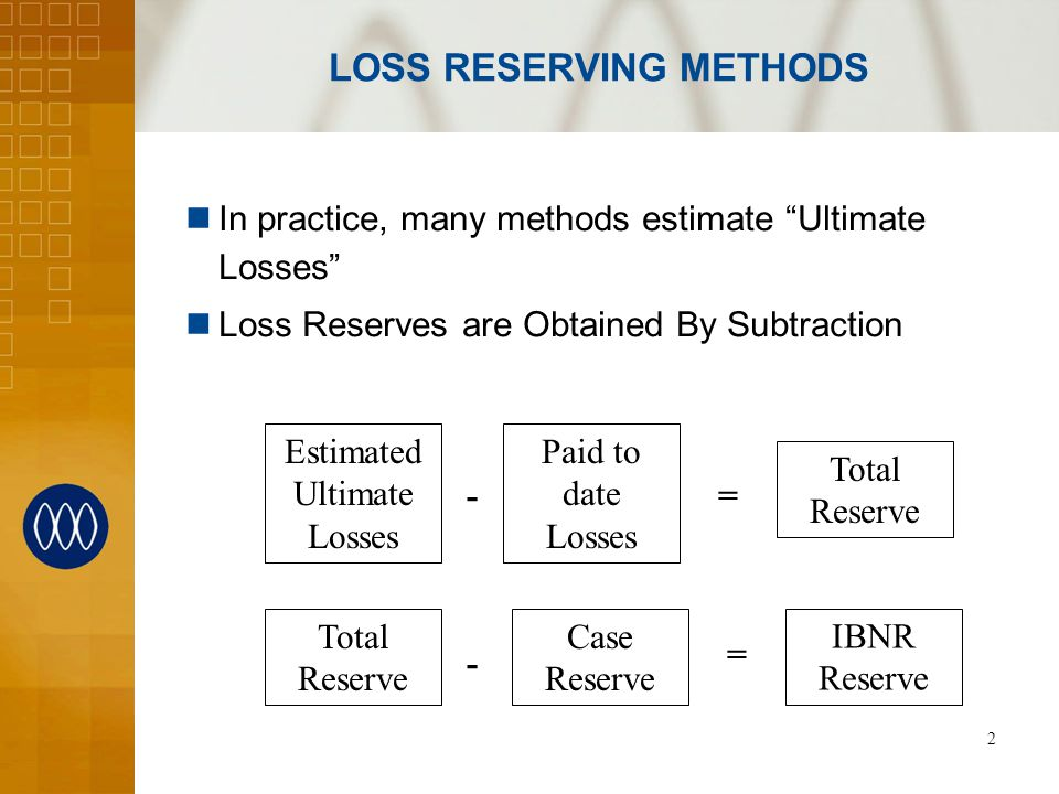 3 LOSS RESERVING METHODS Expected Loss (Loss Ratio) Loss Development (Chain Ladder) Tail Factors Inflation Adjustments Bornhuetter-Ferguson Generalized Cape Cod Many, many others available