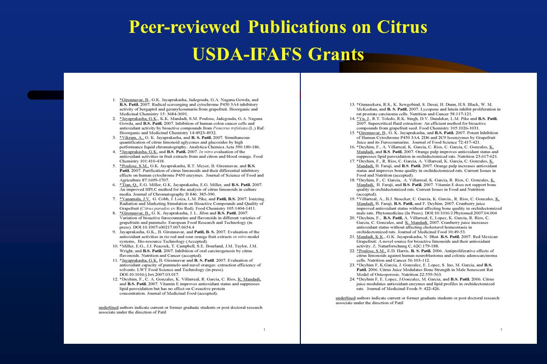 Peer-reviewed Publications on Citrus USDA-IFAFS Grants
