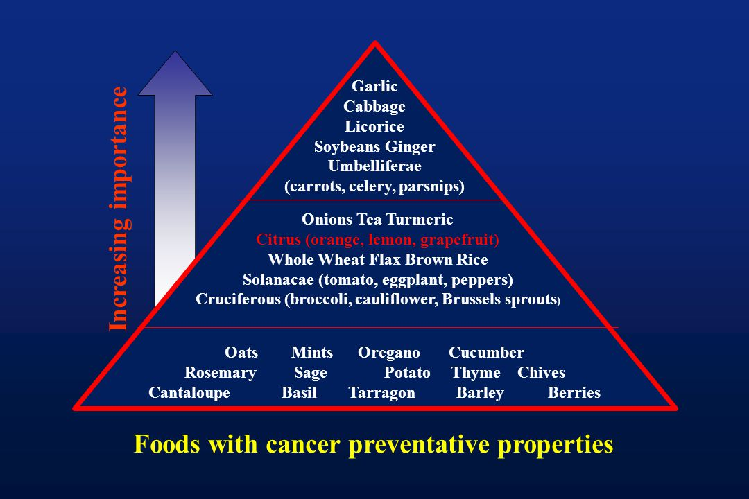 Foods with cancer preventative properties Increasing importance Garlic Cabbage Licorice Soybeans Ginger Umbelliferae (carrots, celery, parsnips) Onion