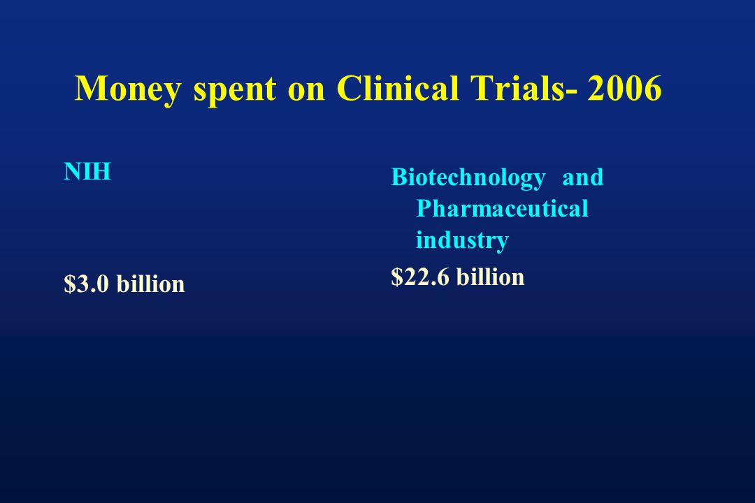 Money spent on Clinical Trials- 2006 NIH $3.0 billion Biotechnology and Pharmaceutical industry $22.6 billion
