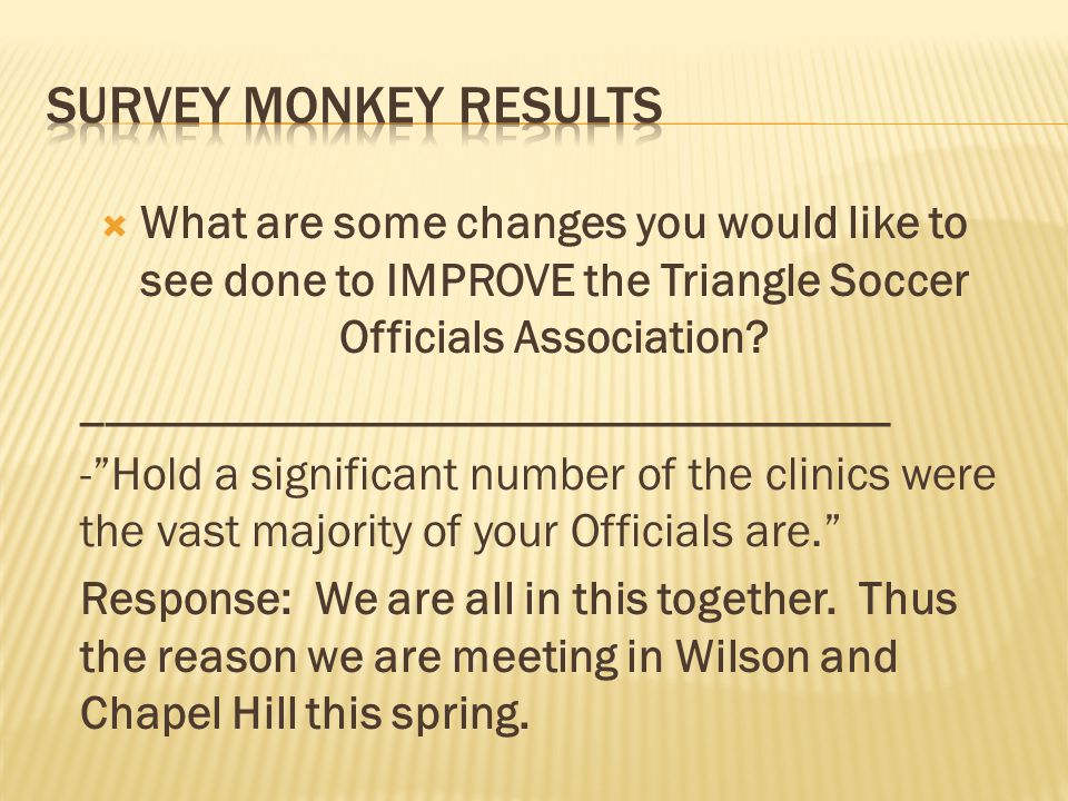 What are some changes you would like to see done to IMPROVE the Triangle Soccer Officials Association.