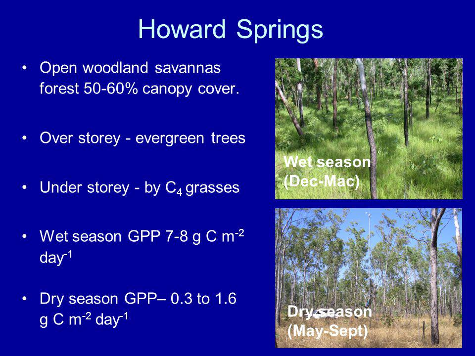 Howard Springs Open woodland savannas forest 50-60% canopy cover.