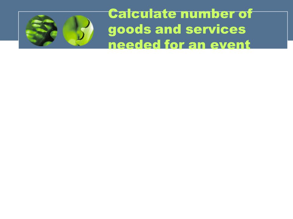 Calculate number of goods and services needed for an event