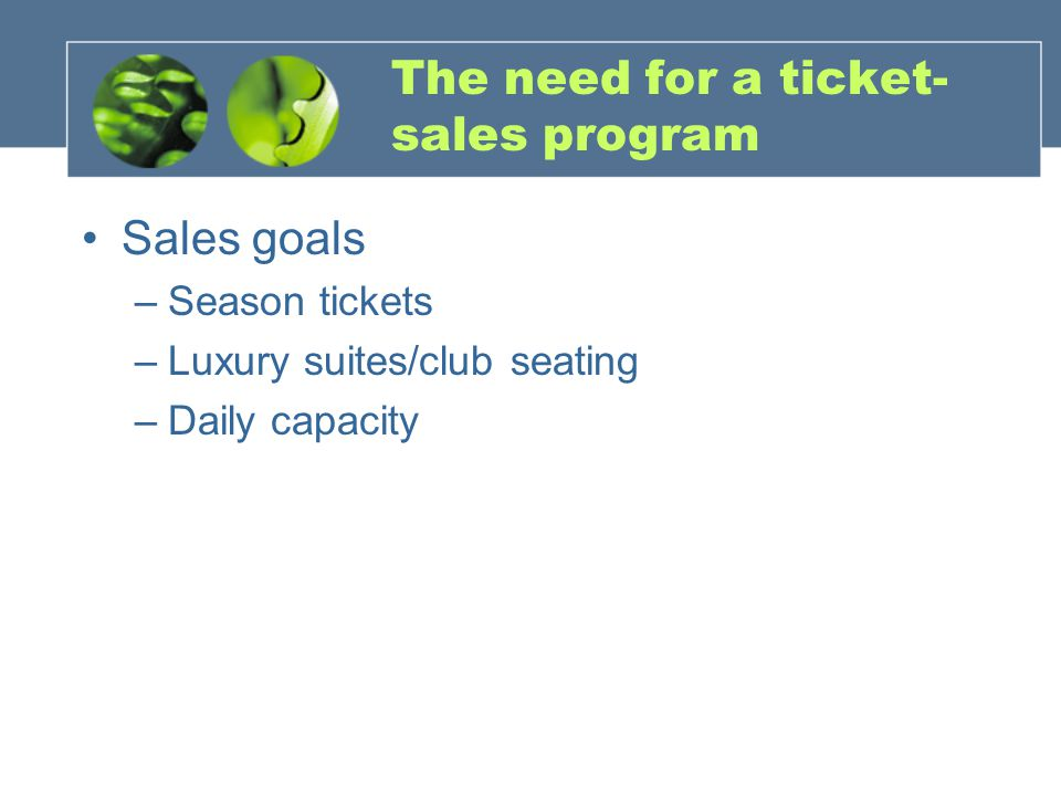 The need for a ticket- sales program Sales goals –Season tickets –Luxury suites/club seating –Daily capacity