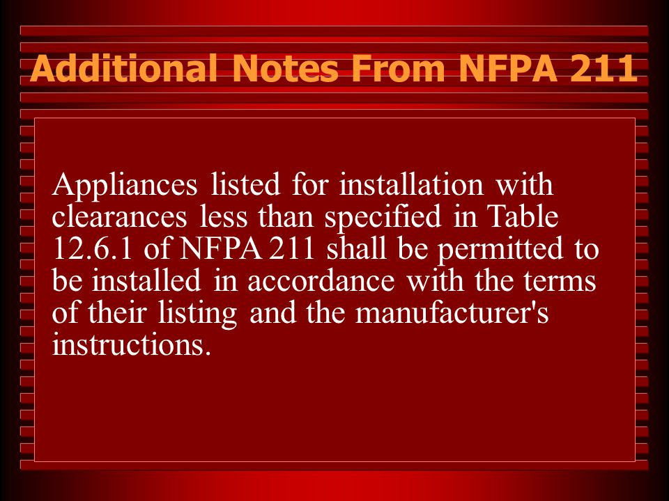 Appliances listed for installation with clearances less than specified in Table 12.6.1 of NFPA 211 shall be permitted to be installed in accordance wi